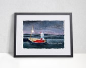Igglepiggle painting, In the Night Garden - Limited edition print, Iggle piggle in boat, In the night garden art, igglepiggle art