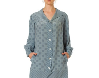 Checkerboard Geometric Silk Shirtdress with Buttons  SIZE: S-M, 6