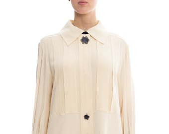 1980s Karl Lagerfeld Silk Shirt Dress Size: XL