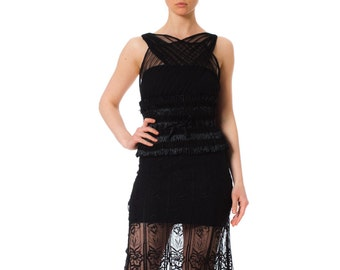f694136bd9b Morphew Lab Sheer Black Raffia Waist Sleeveless Dress made of 1930s Lace