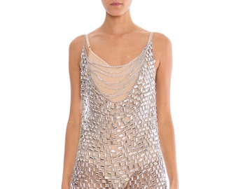 1960s Paco Rabanne Silver Mesh Fringe Dress Size: M