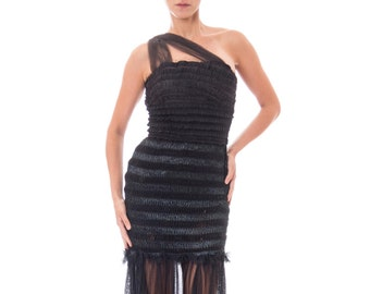1950s Black Ruffle Bodycon Dress With Sheer Skirt Size: XS