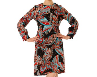 1960s Psychedelic Butterfly Op Print Long Sleeve Midi Dress