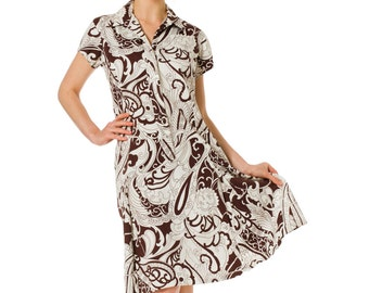 1960s Monochromatic Psychedelic Printed Shirt Dress SIZE: M, 6