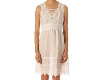 ab44af475c9 Morphew Lab Embroidered White Sleeveless Dress made of Edwardian Cotton and  Lace SIZE  XS