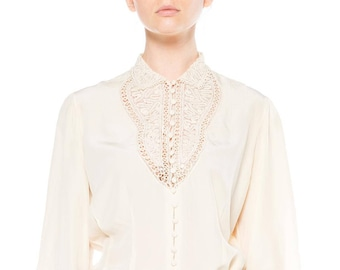 Ivory Silk Long Sleeve Top With Soutache Lace Size: 8