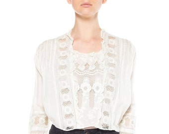 Edwardian White Lace Top With Floral Embroidery Size: 6