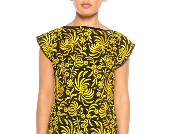 Black And Yellow Embroidered Dress Size: 2