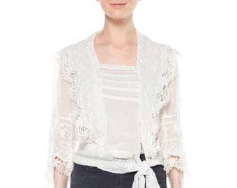 Edwardian White Cotton Embroidred Top With Waist Tie Size: 4