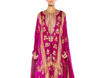 Phenominal Trained Silk Caftan With Elaborate Metal Embroidery Kaftan Size: free