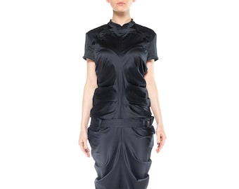 6d6a8ed94 John Galliano Sleek Black Fitted Vintage Qipao-style Collared Dress Size: 6