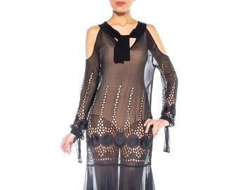 Black 1920s Eyelet Day Dress Size: 4