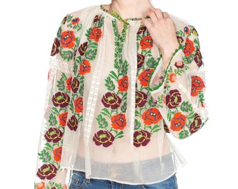 White Sheer Mesh Floral Embroidered Peasant Top Size:
