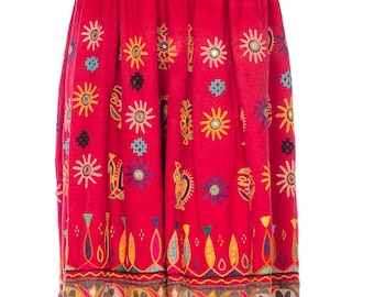 Red Cotton Embroidered Skirt With Mirrors Size: 2