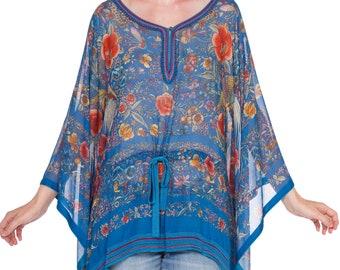 bba81a7401743 Roberto-cavalli Chinese Embroidery Printed Silk Chiffon Kaftan Tunic Top  Size: M