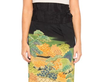 Silk Wrap Skirt Made From A Kimono With Garden Scene Size: Free