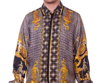 9e59ef9c73c99 1990s-gianni Versace Men s Silk Plaid And Snakeskin Medusa Head Shirt Size   XL