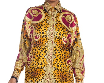 810f7d55e7d 1990s-gianni Versace Gold Baroque   Leopard Silk Shirt With Crystals  Buttons Size  S