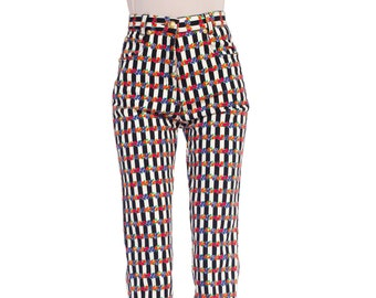 b26dad127dbb 1990s-gianni Versace Floral Striped Jeans Size  XS