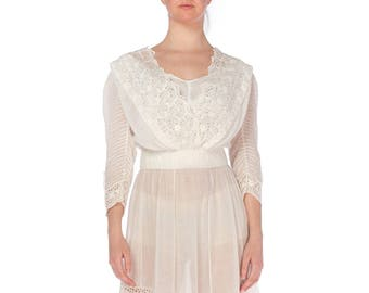 Edwardian White Lace Gown With Pintucked Sleeves Size: S