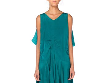 1920s Green Silk Dress With Bias Skirt Size: S