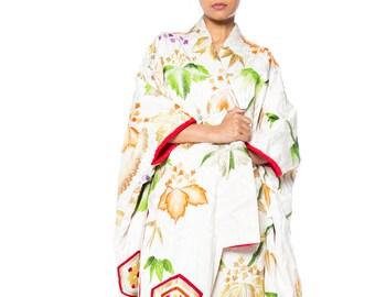 Japanese Silk Kimono Entirely Embroidered In Metallic Gold