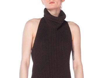 Backless Knit Cowl Neck Halter Dress Size: S