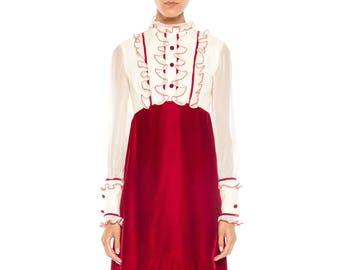 Mod Mini Dress With Ruffles And Velvet Skirt Size: 2