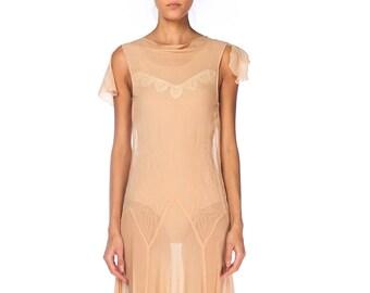 1920s Chiffon Dress With Bias Skirt Size: XS