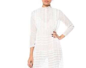 Edwardian Sheer Cotton Tea Dress With Cutwork Embellishment Size: 2