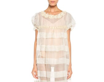 1920s Organza Dress With Lace Collar Size: 6
