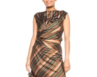 1990S KENZO Dark Green & Copper Striped Silk Blend Bias Cut Skirt Top 2 Piece Gown