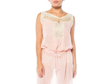 1930s Pink Cotton Slip With Lace Size: 10