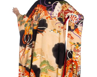 Kimono-with Fan Print And Metallic Embroidery Size: FR