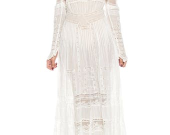 Circa 1900 Victorian Lace And Cotton Tea Dress Size: 4
