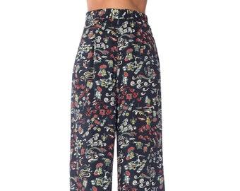 1940s Navy Blue Asian Print Wide Leg Pants Size: S