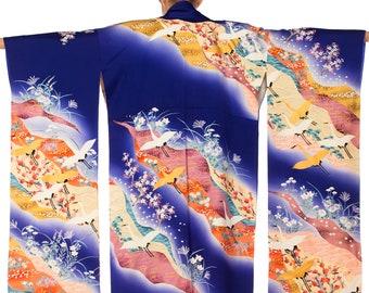 Blue Metallic Handpainted Crane Floral Cherry Blossom Kimono Size: