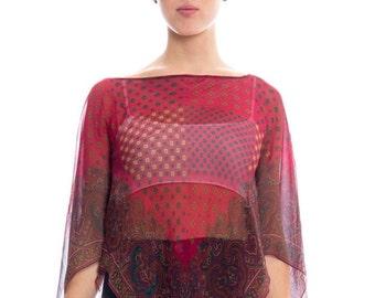 1970s Silk Chiffon Scarf Top Size: S/M