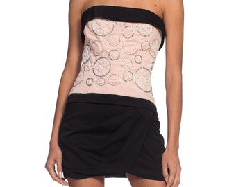 ba6297ceb1fed 1980's Chanel Cocktail Dress In Velvet & Silk Beaded with CC Logo Pearls