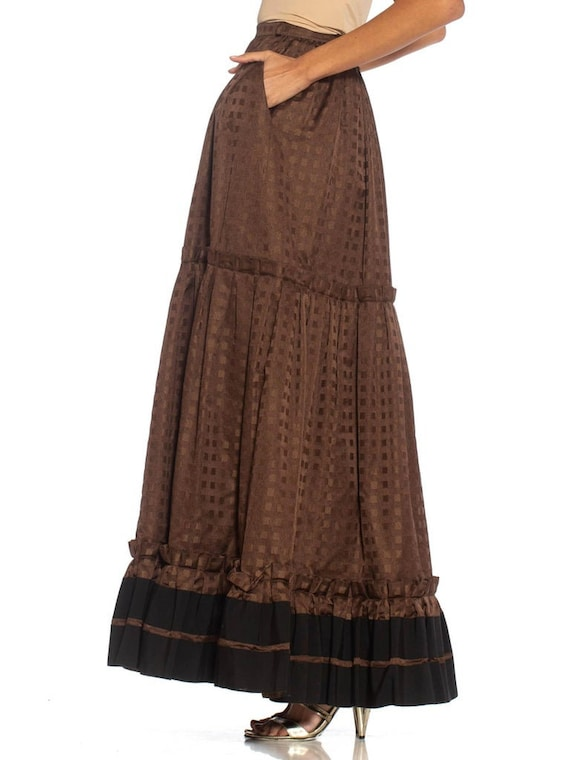 1970S Lanvin Brown Haute Couture Silk Full Pleate… - image 2