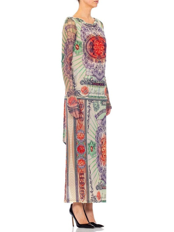 1990s JEAN PAUL GAULTIER Mesh Iconic Money Print … - image 7