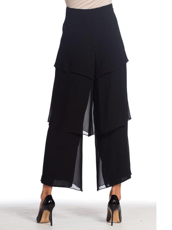 1990s-armani Silk Chiffon Pants Size: L - image 7