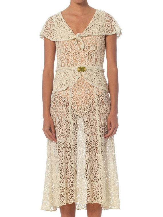 1930S White Bias Cut Cotton Lace Dress With Caplet