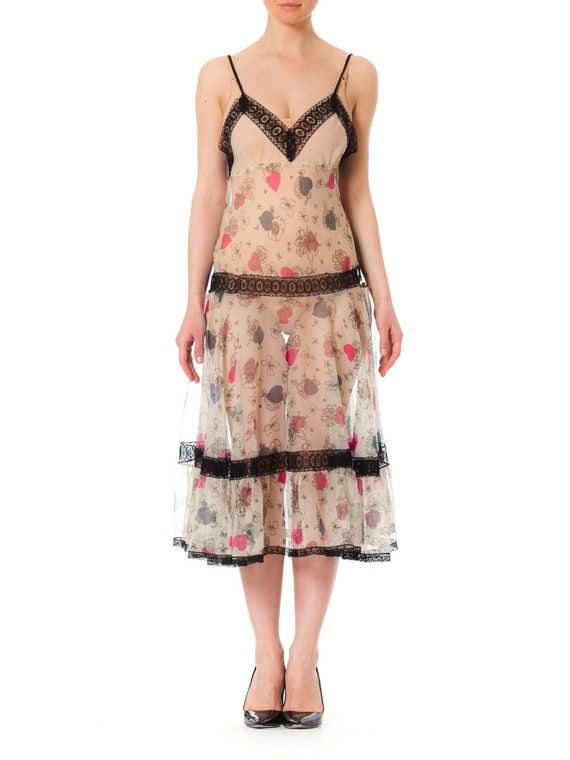 1940S Cotton  Lace Floral Print Slip Dress With Sw