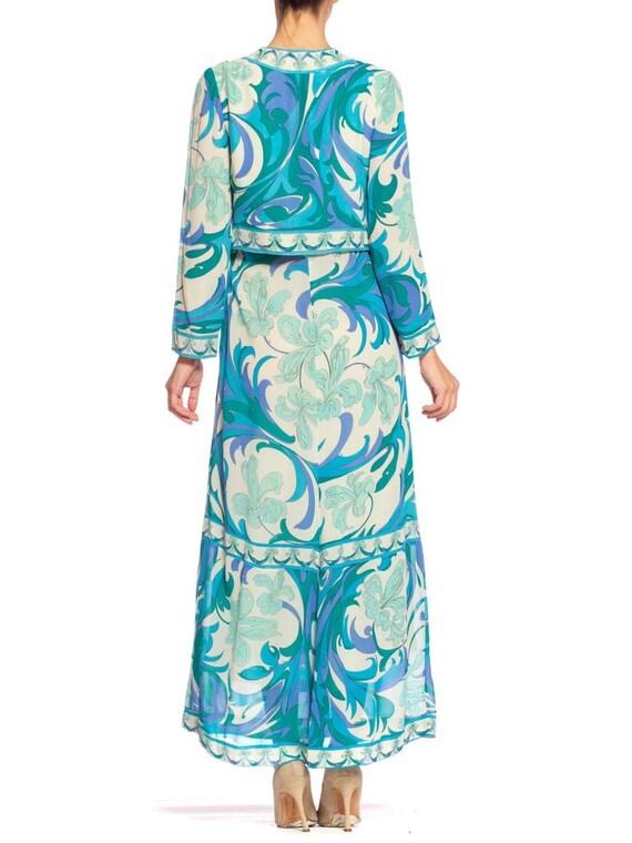 1960S EMILIO PUCCI Aqua  Blue Silk Chiffon Psyche… - image 8