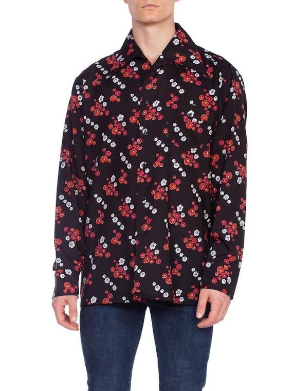 1970'S Black & Red Polyester Men's Floral Print Di
