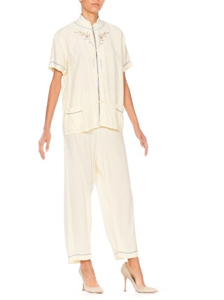 Cream-floral Embroidered Asian Pajama Jumpsuit Size: M