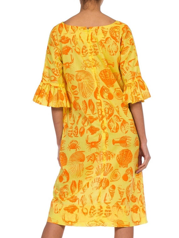 1970S Yellow & Orange Cotton Blend Bright Seaside… - image 2