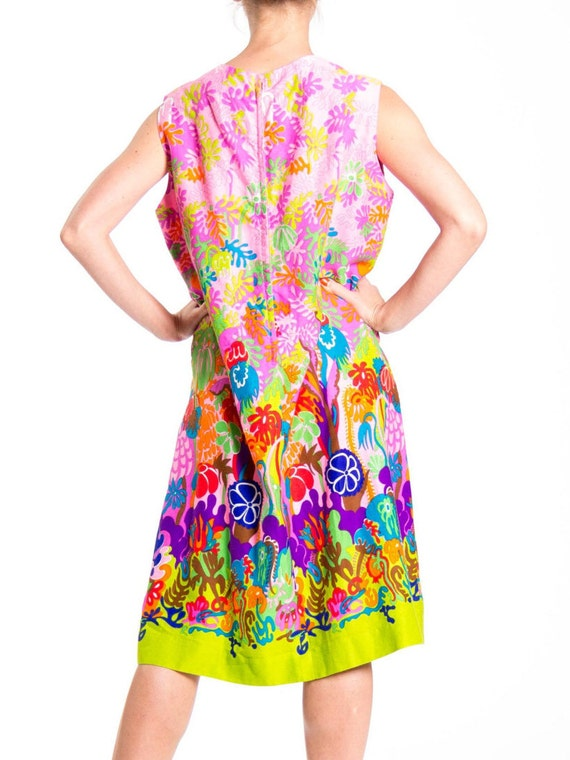1970s Psychedelic Floral Print Sleeveless Midi Dr… - image 5