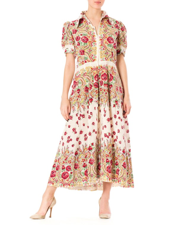 1930S Cotton Peasant Style Floral Maxi Dress With
